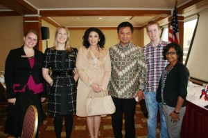 AKWorld Alyssa Bish, Lise Falskow, Erik Peterson, & Meneka Thiru with Ambassdor Djalal & his wife